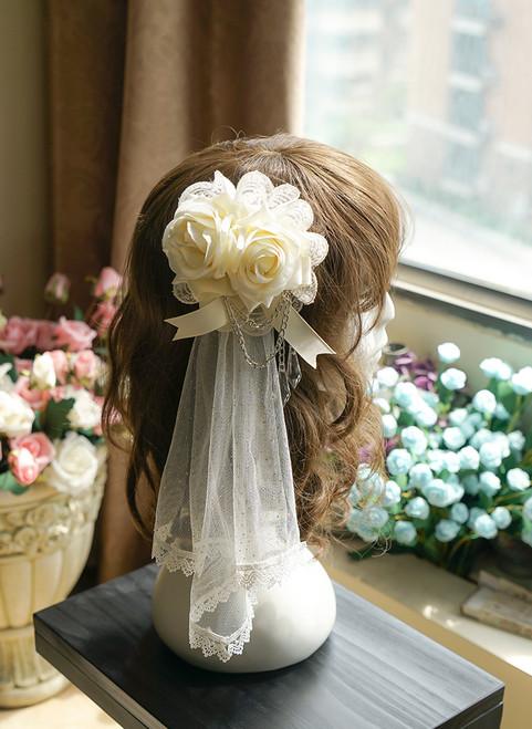 A Midsummer Night's Dream Gothic Elegant Lolita Lace & Rose & Gauze Hairdress