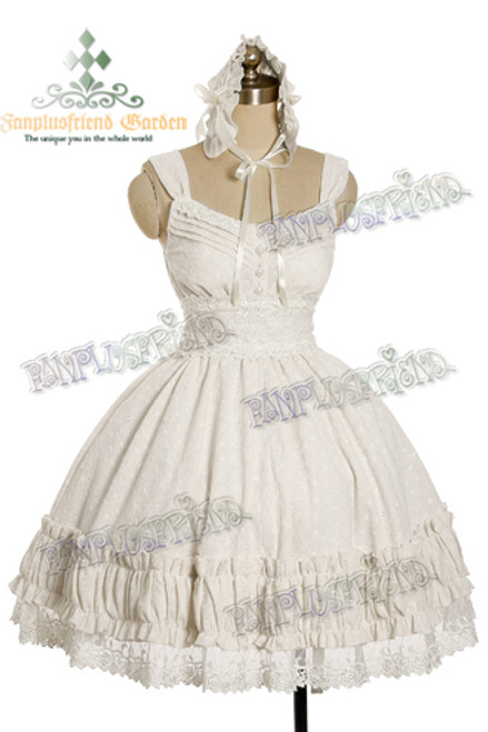 Last Chance: Classic Lolita Vintage Lace Shirring High Waist OP Dress&Headband*3colors Instant Shipping