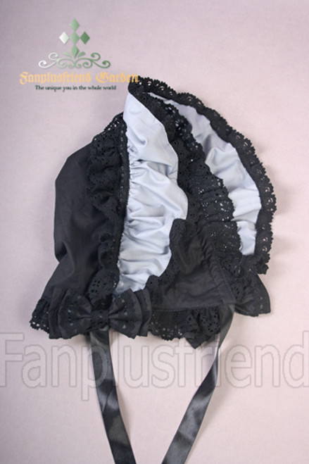 NEW: Gothic Lolita Cotton Lace Boned Bonnet*many colors