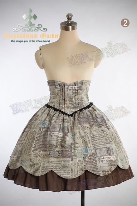 Last Chance: Princess Portrait Classic Lolita High Waist Steel Boned Corset 2pcs Skirt Set*2colors Instant Shipping