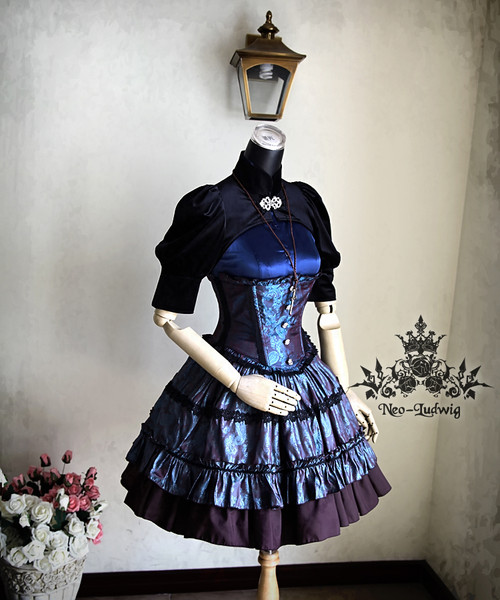 6e7bb697ef Night Glory Gothic Lolita Underbust Steel Boned Peplum Corset ...