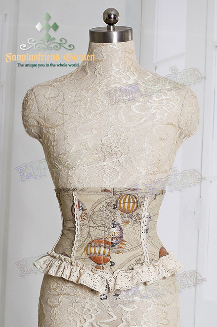 Last Chance: Fire Balloon Adventure Steampunk Lolita: Underbust Steel Boned Corset*2colors