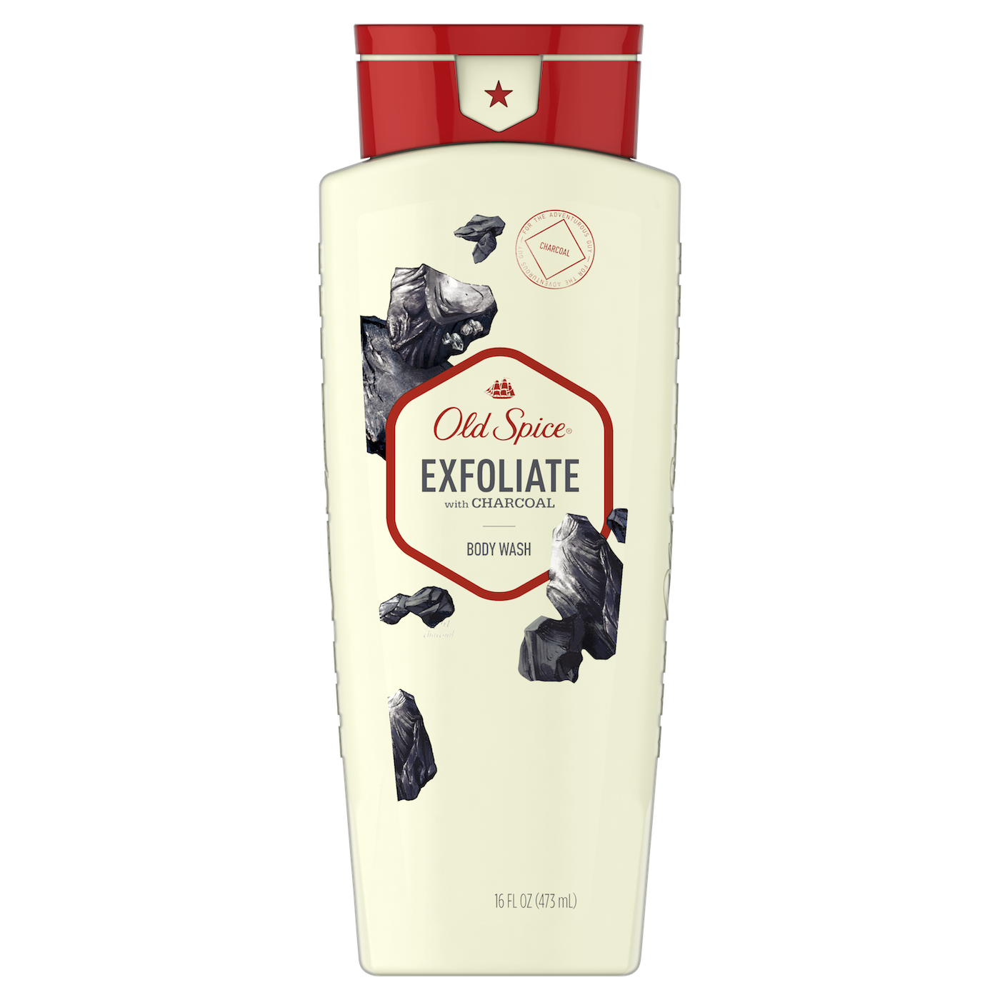 Exfoliate with charcoal body wash