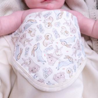 Organic Illustrated Bunny Baby Blanket