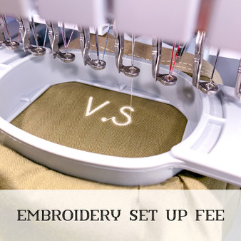 embroidery set up fee
