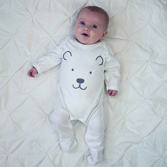 Polar Bear Feet Baby Sleepsuit