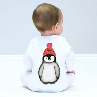 Penguin watercolour sleepsuit
