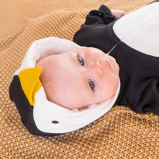 Handmade Organic Cosy Penguin Baby Onesie