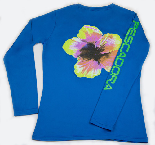 Pescadora Hibiscus Blue V-neck