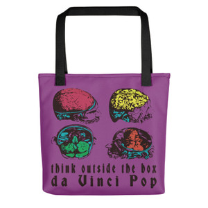 cool purple pop art anatomical brain neoclassical da vinci tote bag