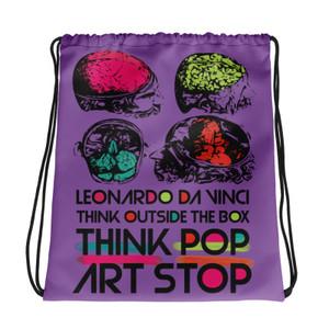 buy online  cool purple Drawstring bag  with Neoclassical pop art skull after da vinci skull and da vinci vitruvian man on the back