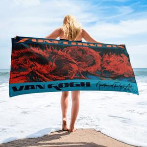 Neoclassical pop art  best luxury towels. Check this van gogh sunflower Orange and blue towel .
