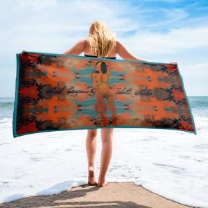 Paul Gauguin Tahiti nude woman orange blue luxury beach towel by BWM collection.