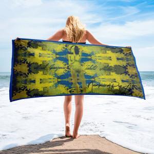 Buy online Paul Gauguin blue yellow luxury towel by Neoclassical Pop Art