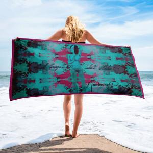 Paul Gauguin Tahiti nude woman pink  blue luxury beach pool bath towel by Neoclassical Pop Art
