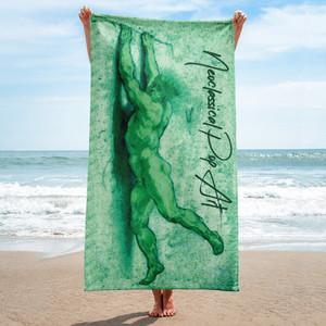 Sir Peter Paul Rubens  Neoclassical pop art green  luxury designer pool towels  by Neoclassical Pop Art