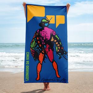 collectible Neoclassical Pop Art blue yellow pink red orange green  towel featuring leonardo da vinci pop art