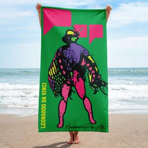 Collectible Leonardo da vinci green pink purple neoclassical pop art luxury beech towel for sale by
