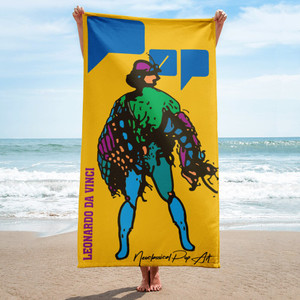 Leonardo da vinci yellow blue green neoclassical pop art luxury beech towel for sale by Neoclassical Pop Art