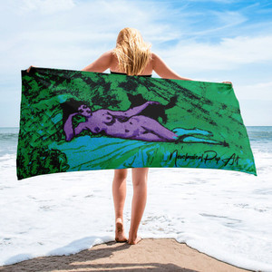On sale Eduard  Manet  Green Blue Purple woman with cat luxury designer beach towels by Neoclassical Pop art