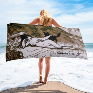 Buy Eduard manet nude woman with cat best luxury beach towels by neoclassical pop art