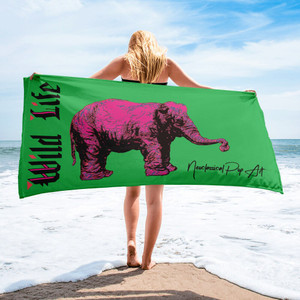 cool Rembrandt pink and green elephant art print luxury beach towel by neoclassical pop art