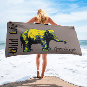 On sale cool Rembrandt beige yellow wild life elephant towel by neoclassical pop art collectible online brand