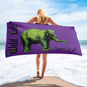 buy Rembrandt My First Elephant Green Purple luxury Towel by Neoclassical Pop Art collectible online brand shop