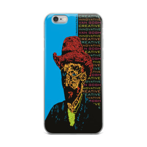 Neoclassical pop art van gogh Orange Hat on Blue Self Portrait fine art collectible iphone cases