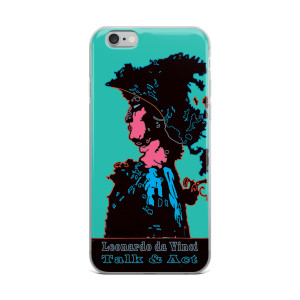 Leonardo da Vinci Talk & Act Neoclassical Pop Art Turquoise Blue iPhone Cases