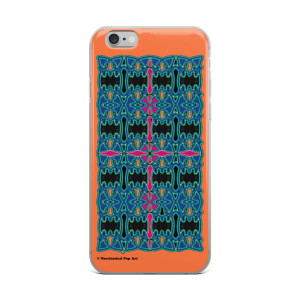 Leonardo da vinci Orange Blue Pink and Green Geometric Pattern cross iphone cases