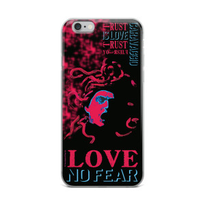 Neoclassical pop art Cravaggio red Medusa creative iphone case with words no fear love