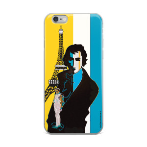 on sale Light blue yellow eiffel tower  napoleon Jacques-Louis David neoclassical pop art iphone case