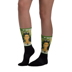 Frida Kahlo self portrait collectible yellow green pop art  socks by neoclassical pop art