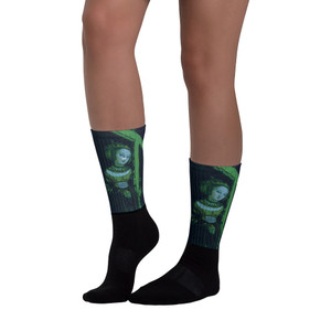 Cranach Blue Green Neoclassical pop art Cristian Cross Art Socks