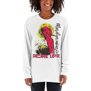 Marilyn Monroe  Yellow Red Desire Love Long sleeve t-shirt by Neoclassical pop art