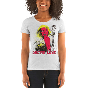 Marilyn Monroe Yellow Red Desire Love Ladies' short sleeve white t-shirt by Neoclassical Pop Art