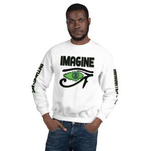 Kawaii Da Vinci Imagine green black Eye of Ra Unisex Sweatshirt by Neoclassical Pop Art online store