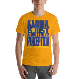 Spiritual blue yellow sunflower yellow Karma is just a matter of perception Short-Sleeve Unisex T-Shirt by Neoclassical pop art