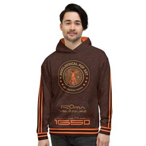 On sale Velázquez  brown orange Unisex Hoodie with da vinci vitruvian man neoclassical pop art brand logo at the front