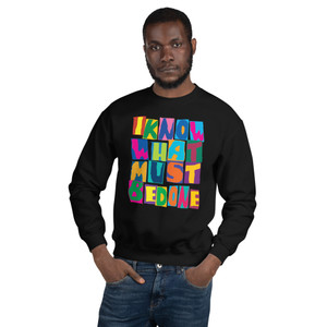 """On sale Spiritual """" I Know that I do not know"""" colurful Unisex Sweatshirt by Neoclassical Pop Art online pop art gift shop"""
