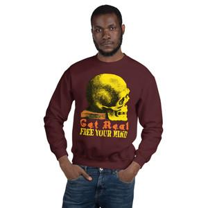on sale Leonard Da Vinci Free Your Mind Yellow Skull Unisex sweatshirt by neoclassical pop art online fashion brand