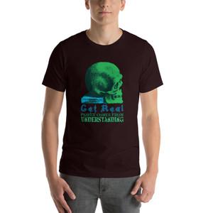 On sale Da Vinci  Power Comes From Understanding  skull art Short-Sleeve Unisex T-Shirt by Neoclassical Pop Art
