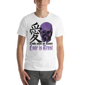 On sale Da Vinci Purple Skull Trust Love Short-Sleeve Unisex T-Shirt  by Neoclassical Pop Art online fashion house brand