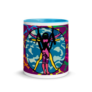 purple, green, blue, yellow, pink, green, orange,  11 oz Leonardo da Vinci vitruvian man  mug by Neoclassical pop art