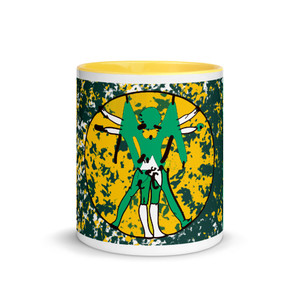 11 oz Leonardo da Vinci neoclassical pop art vitruvian man Green Yellow mug by Neoclassical pop art