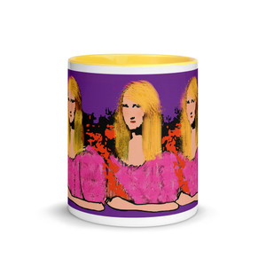 Purple pink blond Mona Lisa neoclassical pop art portrait mug by Neoclassical Pop Art