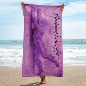 On sale Sir Peter Paul Rubens purple Neoclassical pop art brown luxury designer beach towels  by Neoclassical Pop Art