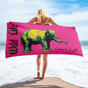 Buy Rembrandt My First Elephant Pink Yellow animal Towels by Neoclassical pop art online  brand