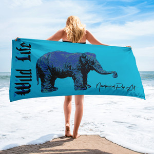 buy Rembrandt My First Elephant Blue and light blue animals Towel by neoclassical pop art